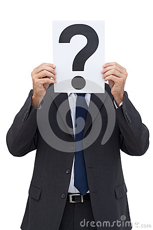 Businessman holding a question mark paper