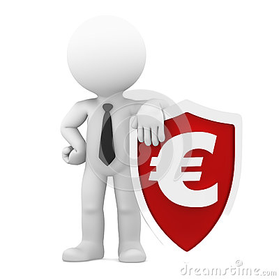 Businessman holding shield with a euro currency.