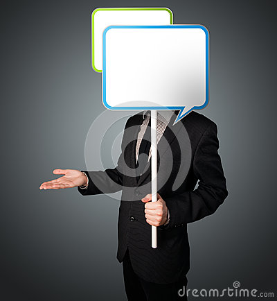 Free Businessman Holding Speech Bubble Royalty Free Stock Photo - 38036155