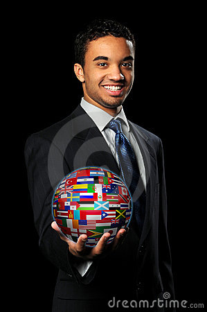 Businessman Holding Sphere With World Flags