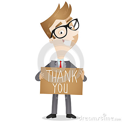 Free Businessman Holding Thank You Note Stock Photography - 37616352
