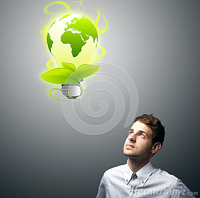 Businessman holding virtual eco sign