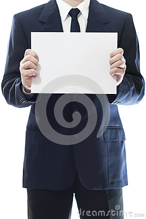 Businessman holding a white piece of paper