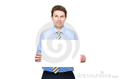 Businessman holds empty, blank card, copyspace