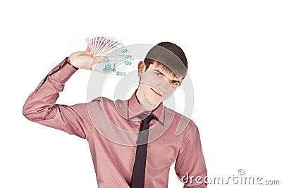 Businessman holds money isolate backout