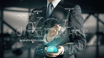 Businessman with Actionable Analytics. Businessman with hologram in the future with futuristic tablet with success words stock footage