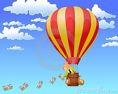 Businessman in a hot air balloon throwing money.