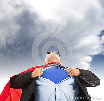 Businessman imitate superman to pull his t-shirt open with dark cloud.