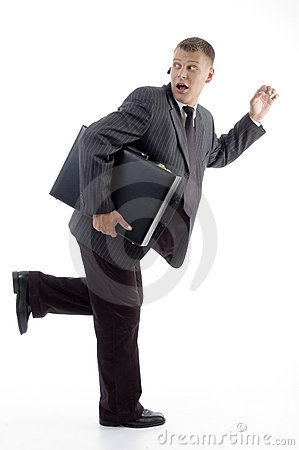 Free Businessman In Hurry With Briefcase Royalty Free Stock Photos - 7118068