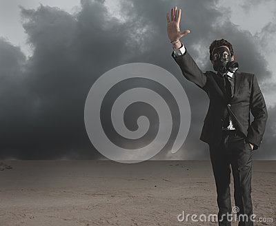 Businessman Indicates Radiation Stock Photo - Image: 25620590