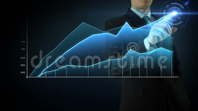 Businessman interactivity Touch screen. Businessman on an abstract blue background interactivity touch screen and draws blue big graph. Touchscreen Technology