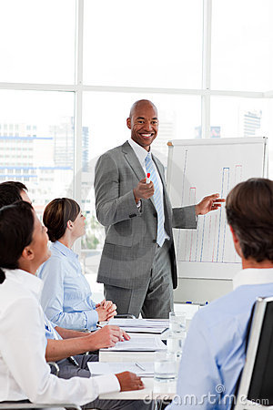Businessman introducing stock market to his team