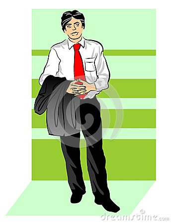 Businessman with jacket over his arm