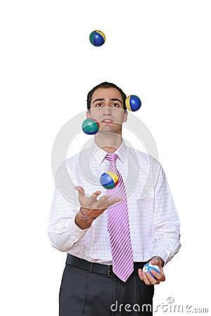 Businessman juggling his priorities