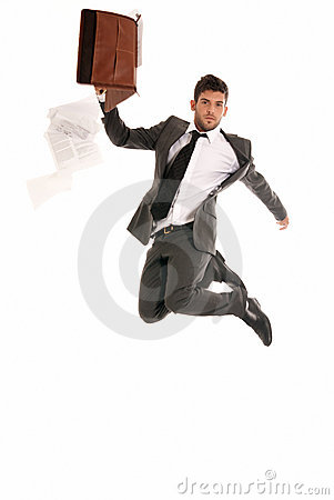 Businessman jump briefcase fall papers copy-space