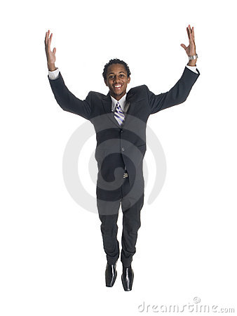 Businessman - jump for joy