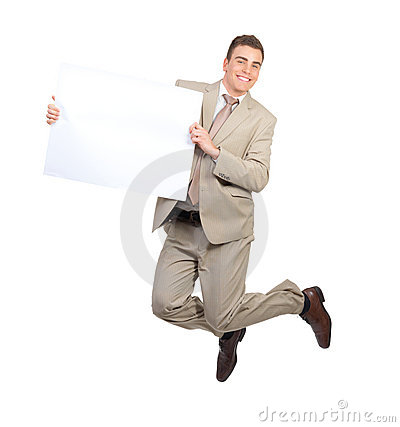 Businessman jumping and holding blank white card