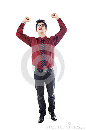 Businessman jumping - isolated