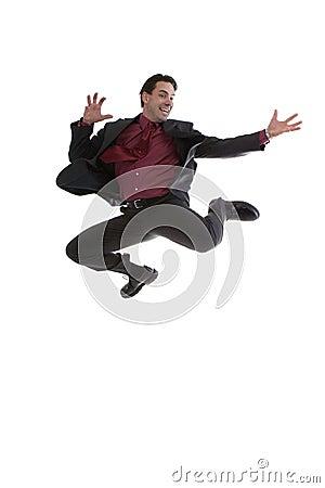 Businessman jumping midair