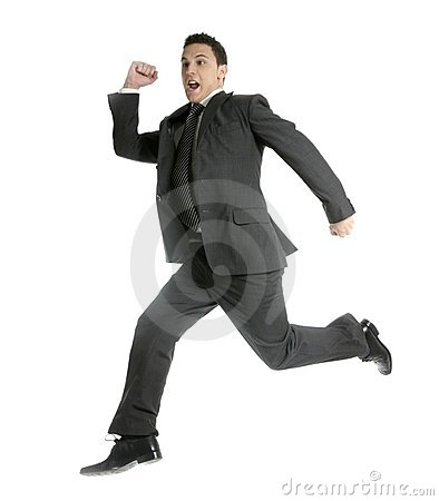 Businessman jumping at studio, full on white
