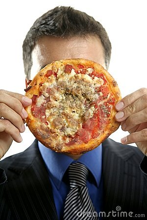 Businessman and junk fast food, pizza