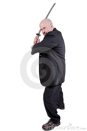 Businessman with katana