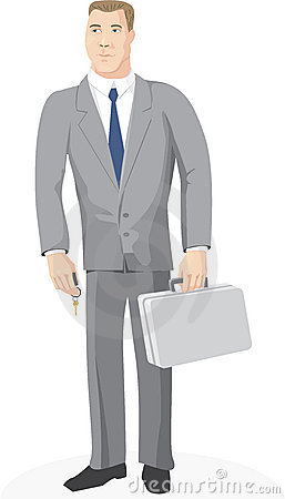 Businessman with key and case