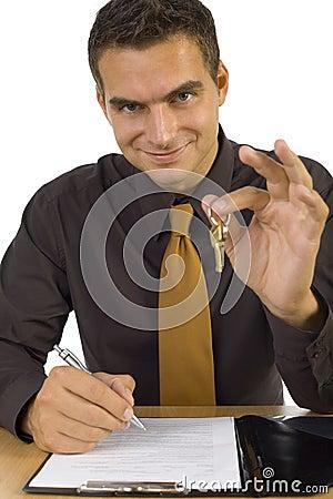 Businessman with keys