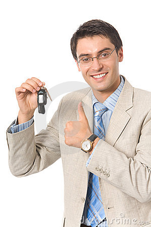 Businessman keys of new car