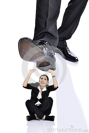 Woman Stepping On Man Businessman Kicking St...