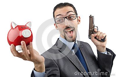 Businessman killing piggy bank