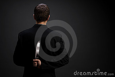 Businessman with knife