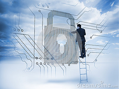 Businessman on a ladder touching a padlock