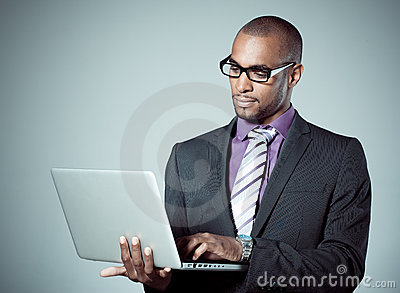 Businessman With Laptop Stock Image - Image: 15794551