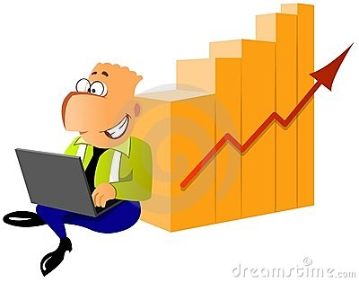 Businessman with laptop near the diagram of succes