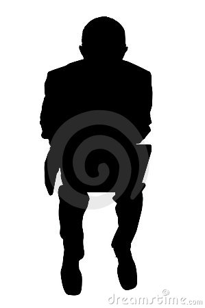 Businessman with laptop silhouette