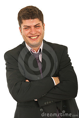 Businessman laughing out loud