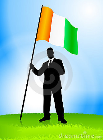Businessman Leader Holding Ireland Flag