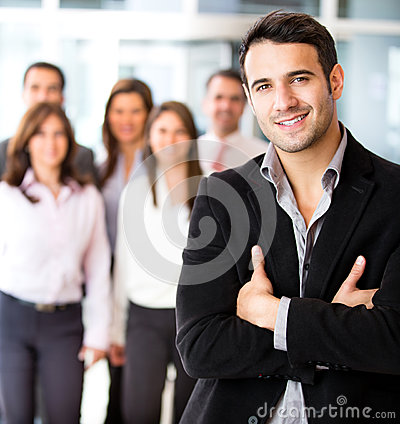 Businessman leading a group