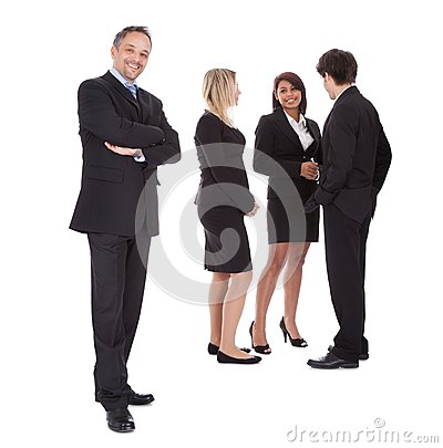 Businessman leading an group