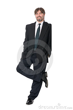 Businessman leaning on an invisible wall