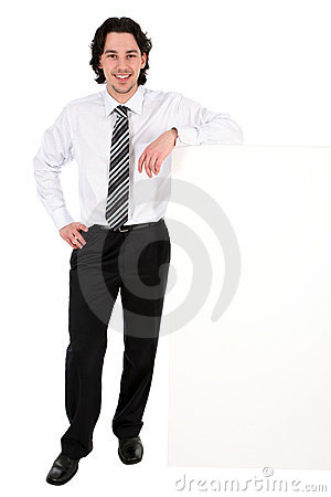 Free Businessman Leaning On A Billboard Royalty Free Stock Image - 4821086