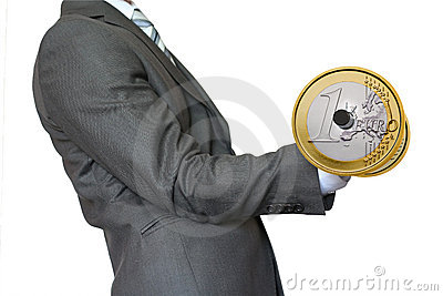 Businessman lifting dumbbell gold Euro