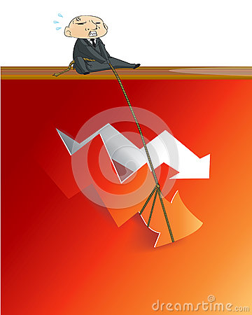 Businessman lifting up red arrow from critical