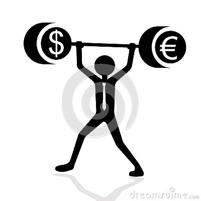 Businessman lifting weights with dollar and euro symbols
