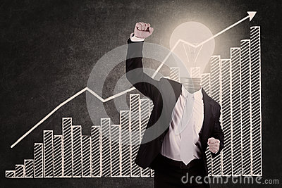 Businessman with lightbulb head raised hand