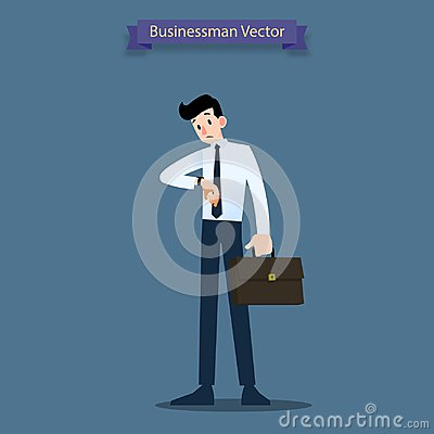 Free Businessman Look At His Watch To Check The Time And Waiting For Co-worker Or His Dealer About Minute To Hour. Stock Photo - 123795150