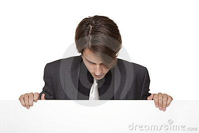 Businessman - lookind down blank sign