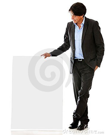 Businessman looking at banner