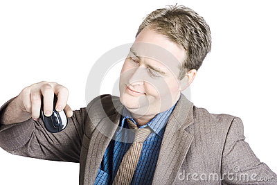 Businessman Looking At Computer Mouse